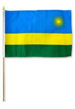 """12x18 12""""x18"""" Rwanda Stick Flag wood Staff"""