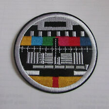 Retro Tv Television Round Test Card  Embroided Iron On/Sew On  Patch Applique
