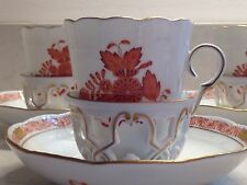 HEREND Set Of 6 Trembleuse Cups Saucers  Chinese Bouquet Rust
