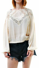 Free People Women's Geometry Lessons Lace-Inset Top Ivory Size XS BCF66