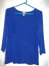 chicos travelers sz l 3/4 sleeve pullover top blouse purple no iron slinky