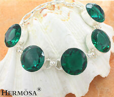 DISCOUNT Hot Round Green Emerald Charm 925 Sterling Silver Chain Bracelet 8""