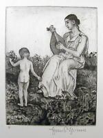 HANS THOMA 1839 - Karlsruhe / Lautenspielerin mit Kind / Radierung, handsigniert