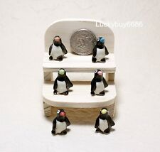 6 Penguins Mixed Ceramic Figurine Animal Miniature Dollhouse Collectibles Garden