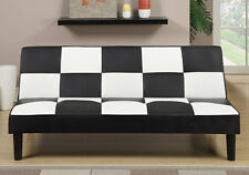 Living Furniture Plush Adjustable Sofa Bed Futon Couch Black White Faux Leather