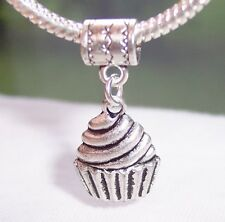 Cupcake Dessert Food Cake Dangle Bead fits Silver European Style Charm Bracelets