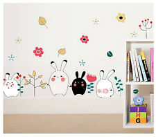 Bunny Rabbit Wall Sticker per Baby Bambini Decalcomania Arte Grafica di Trasferimento Stencil Home