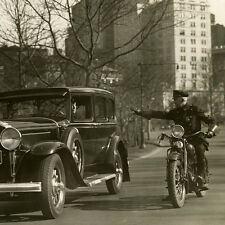Vintage 30's Photo NYPD Policeman Pulls over Car on Police Indian Motorcycle
