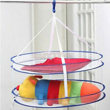 2 layers Folding Drying Rack Hanging Clothes Laundry Sweater Basket Dryer Net tb