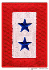 MILITARY SERVICE FLAG iron-on PATCH TWO STAR embroidered 2 FAMILY MEMBER SERVING