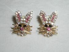 GLITTERING AUSTRIAN CRYSTAL BUNNY RABBIT EARRINGS PRETTY EASTER GIFT BUNNIES NEW