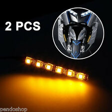 2x Universal Mini Black Led Motorcycle Turn Signal Amber lights Strip 6LED 12V
