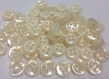 50 x baby buttons 8mm 4 hole pink pearlescent small & chunky tiny buttons