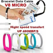 BRACELET BLANC CABLE V8 MICRO CHARGEUR DATA 22CM SAMSUNG HTC NOKIA SONY ANDROID