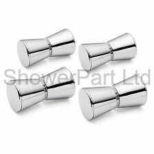4 x Shower Door Handles/Knobs Chrome Plated Cone Shaped L063