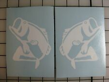 """Two 4"""" Bass Fish Decals ANY COLOR Sticker Fishing Boat Truck Car Window Bumper"""