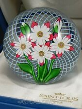 1985 St Louis France Art Glass PAPERWEIGHT FLOWER BOUQUET LATTICINO GROUND Box