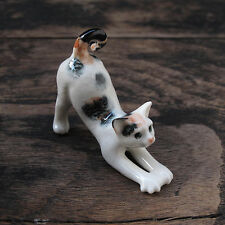 Stretching 3-Color Cat Figurine Cats Ceramic Collection Cat Pottery Collectibles