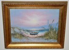 Oil Painting on Board By Howard Gailey Beach Sea Boat