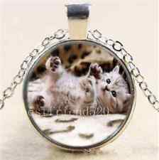 Cute Lazy Baby Cat  Cabochon Glass Tibet Silver Chain Pendant Necklace
