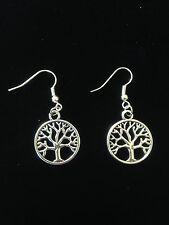 Earrings Tree of Life Silver Hippie Ethnic Boho  Festival Tribal Folk Gypsy