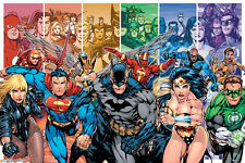 DC Comics LAMINATED POSTER Superman Batman Super Hero Collage Justice League NEW