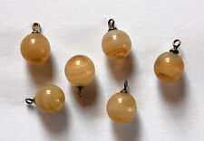 VINTAGE 6 GLASS AGATE SWIRLY MARBLE BALL BEAD DROPS BEADS SILVER BEAD CAP 9mm