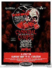 CANNIBAL CORPSE/NAPALM DEATH/IMMOLATION/CRETIN 2013 SEATTLE CONCERT TOUR POSTER
