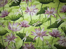 Dragonfly Dragon Fly Water Lilly Metallic Gold Green Purple Cotton Fabric FQ