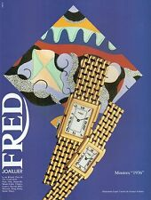 """▬► PUBLICITE ADVERTISING AD MONTRE WATCH Fred """"1936"""" 1992"""