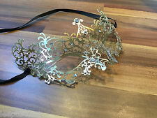 Venetian Masquerade Mask Filigree Gold Metal with Diamonte Ball Prom Halloween