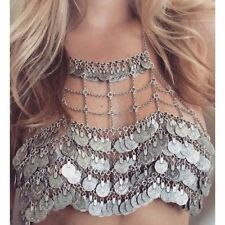 BOHO FESTIVAL SILVER TONE COINS CHAIN BODY BEACH BELLY DANCE BRA TOP - UK SELLER