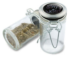 Stay Weird Wire Top Glass Stash Herb Jar w/ Air Tight Seal & Flip Over Lid