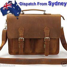 """100% Genuine Leather Mens Briefcase 15"""" Laptop MacBook Bag Shoulder Bag NV008-AU"""