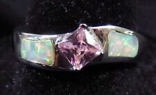 Silver 925 Filled Size 9 Ring White Lab Fire Opal & 4mm Pink Topaz Gemstone