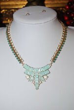 CARA NEW YORK COUTURE GOLD TONED METAL AND BLUE WHITE GREEN STONES BIB NECKLACE