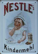 Blechpostkarte 10x15cm Nestle Kindermehl  Baby Nahrung Blech Schild Karte