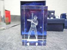 "NEW 3-D LASER ETCHED 3"" x 2"" CRYSTAL GLASS CUBE OF BASEBALL PLAYER"