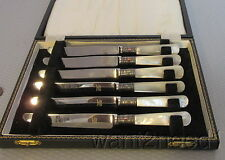 antique vtg Sheffield England MOTHER OF PEARL HANDLE FRUIT KNIVES 6 boxed set