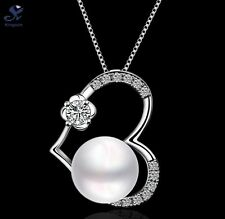 14k White Gold Heart Round Shell Pearl Cubic Zirconia Pendant Becklace Gift D9