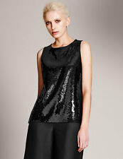BNWT Black Marks Spencer Autograph Sequin Embellished Vest Top with Modal UK 12