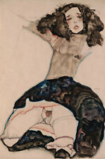 Black-Haired Girl with Lifted Skirt Egon Schiele Frauen Nackt Rock B A3 01606