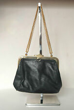 vtg small leather shoulder gold chain strap bag