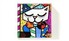 ROMERO BRITTO SQUARE GLASS PAPERWEIGHT- CAT DESIGN