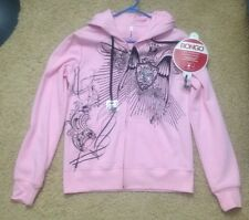 New Pink Bongo Winged Shield Music MP3 Built-In Headphone Hoodie Sweater L Large