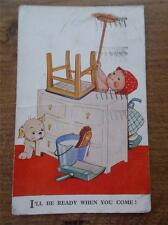 Vtg 1938 Postcard MABEL LUCIE ATTWELL WWII WW2 Child & Dog Military Humour Joke
