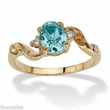 WOMENS 14K GOLD PLATED BIRTHSTONE BLUE TOPAZ CRYSTAL RING SIZE GP 5 6 7 8 9 10