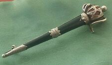 Antique Victorian Scottish Silver Sword Brooch / Pin Inlaid with Jasper Agates