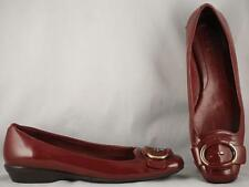 Women's Cole Haan Burgundy Patent Leather Flats with Nike Air Soles 8 AA