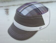 Nobis Plaid Women's Cotton  Military Style Caps in Gray or Sage